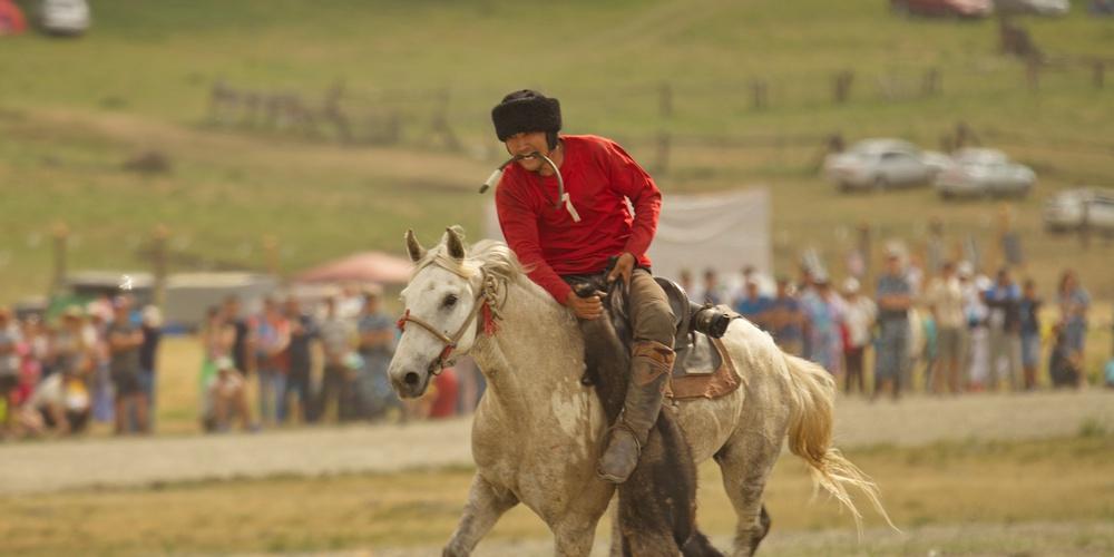 Работа: Конно-спортивная игра Кӧк-Бӧрӱ , один из видов спорта, представленным во время национального праздника Эл Ойын в Горном Алтае.