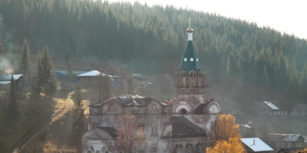 Работа: Кын-завод, Свято-троицкий храм в первозданном виде и сейчас